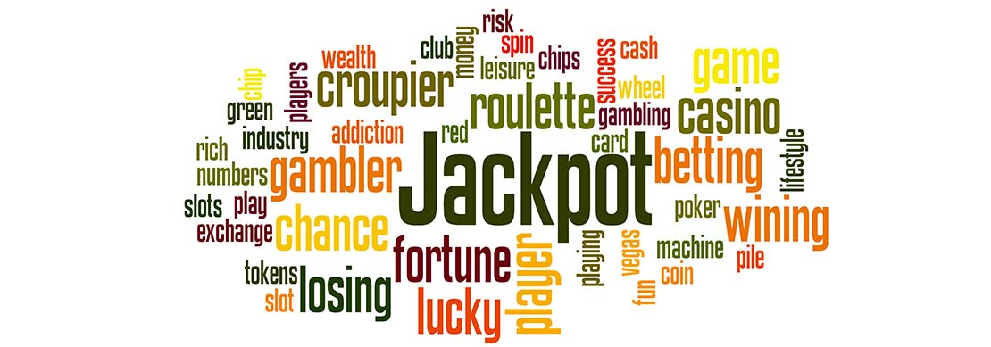 Words jackpot, slots, roulette, poker and more floating around